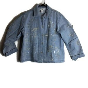 Coldwater Creek Jean Denim Embroidered Jacket